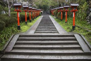 Photo of the steps leading up Mount Kurama