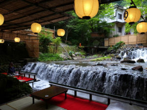 Photo of a restaurant built over the river in Kibune village, Kyoto, Japan