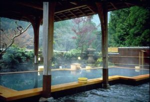 Photo of the healing thermal waters at the Kurama Onsen in Kyoto, Japan at the base of Mount Kurama